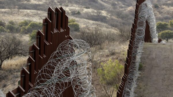 A razor-wire-covered border wall separates the United States, at left, from Mexico east of Nogales, Ariz - Sputnik International