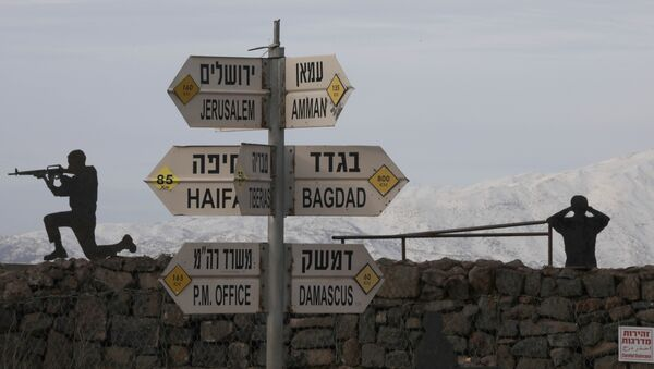 Silhouette sculptures of Israeli soldiers are pictured next to a sign for tourists showing the respective distances to Damascus and Baghdad from an army post on Mount Bental in the Israeli-annexed Golan Heights on January 20, 2019. - Sputnik International