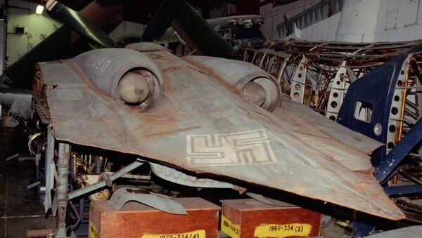 The last surviving Horten Ho 229 airframe, pictured here at the Smithsonian museum's storage facility. - Sputnik International