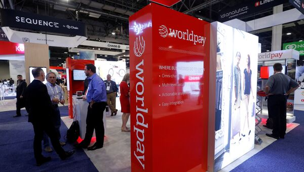 A Worldpay booth is shown on the exhibit hall floor during the Money 20/20 conference in Las Vegas - Sputnik International