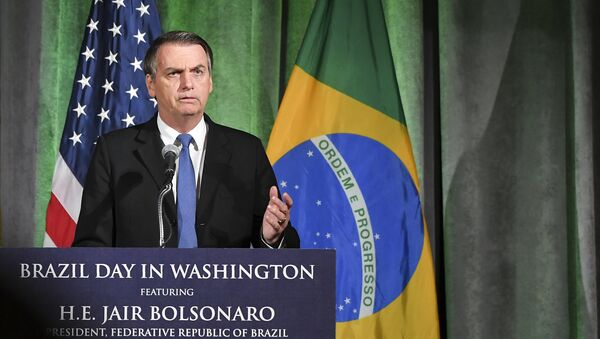 Brazil's President Jair Bolsonaro speaks during a discussion on US-Brazil relations at the US Chamber of Commerce in Washington, DC on March 18, 2019. - Sputnik International