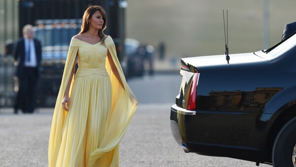 US First Lady Melania Trump arrives for a black-tie dinner with business leaders at Blenheim Palace, west of London, on July 12, 2018, as President Trump begins his first visit to the UK as US president. - Sputnik International
