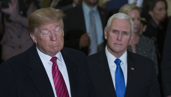 President Donald Trump gives his State of the Union address to a joint session of Congress, Tuesday, Feb. 5, 2019 at the Capitol in Washington, as Vice President Mike Pence, left, and House Speaker Nancy Pelosi look on.  - Sputnik International