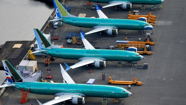An aerial photo shows Boeing 737 MAX airplanes parked at the Boeing Factory in Renton, Washington, U.S. March 21, 2019 - Sputnik International