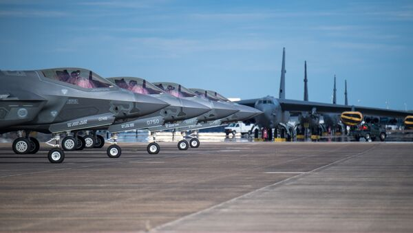F-35 Lightning aircraft from Eglin Air Force Base, Fla., prepare for takeoff at Barksdale Air Force Base, La., Oct. 12, 2018. The aircraft evacuated to Barksdale to avoid possible damage from Hurricane Michael. - Sputnik International