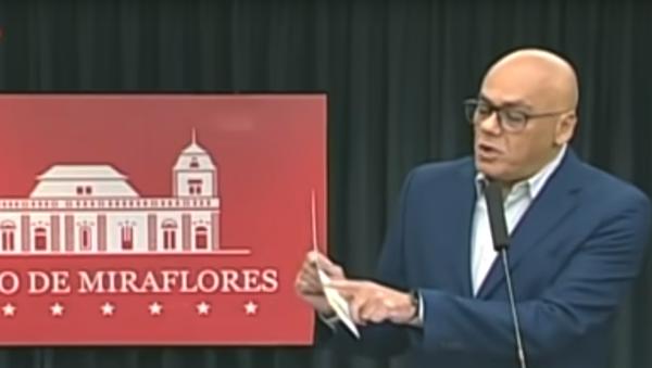 "Venezuelan Communications Minister Jorge Rodriguez presents evidence of ""ultra-right plans to promote regime change involving key Venezuelan opposition leaders such as Juan Guaido, Roberto Marrero, and Leopoldo Lopez - Sputnik International"