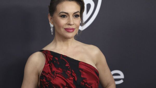 In this 6 January, 2019 file photo, Alyssa Milano arrives at the InStyle and Warner Bros. Golden Globes afterparty at the Beverly Hilton Hotel in Beverly Hills, California - Sputnik International