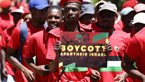 A man holds a sign as South African opposition Party Economic Freedom Fighters (EFF) members demonstrate to express their solidarity with the Palestinians in front of the Embassy of Israel in Pretoria, on November 2, 2017 - Sputnik International
