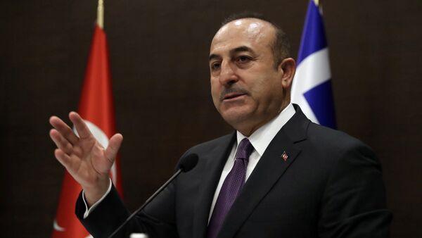 Turkey's Foreign Minister Mevlut Cavusoglu speaks to the media - Sputnik International