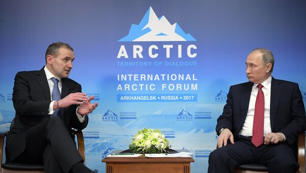 Russian President Vladimir Putin with Iceland's President Gudni Thorlacius Johannesson, 30 March 2017 - Sputnik International