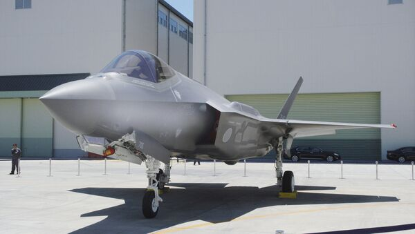 A Japan Air Self-Defense Force's F-35A stealth fighter jet, which Kyodo says is the same plane that crashed during an exercise on April 9, 2019, is seen at the Mitsubishi Heavy Industries Komaki Minami factory in Toyoyama, Aichi Prefecture, Japan, in this photo taken by Kyodo June 2017 - Sputnik International