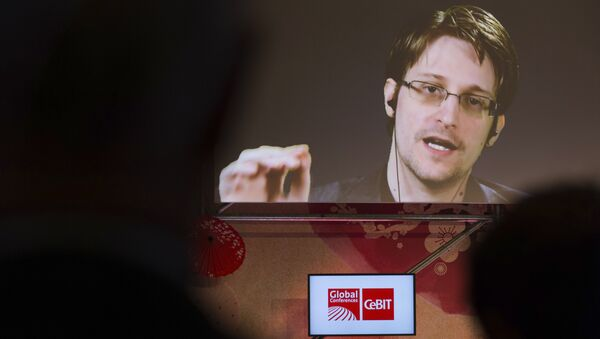 Edward Snowden, a former CIA worker before turning whistleblower, speaks via satellite at the IT fair CeBIT in Hanover, Germany, Tuesday March 21, 2017 - Sputnik International