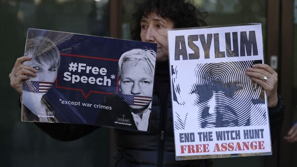 A protester demonstrating in support of WikiLeaks founder Julian Assange holds placards outside Westminster magistrates court where he was appearing in London, Thursday, April 11, 2019. - Sputnik International
