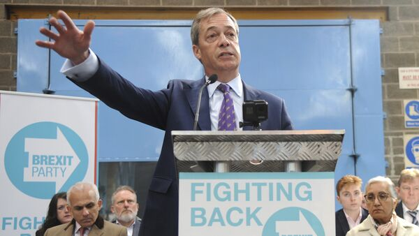 British MEP Nigel Farage speaks during the launch of the Brexit Party's European election campaign, Coventry, England, Friday, April 12, 2019. - Sputnik International
