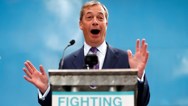 Nigel Farage speaks at the launch of the newly created 'Brexit Party' campaign for the European elections, in Coventry, Britain April 12, 2019 - Sputnik International