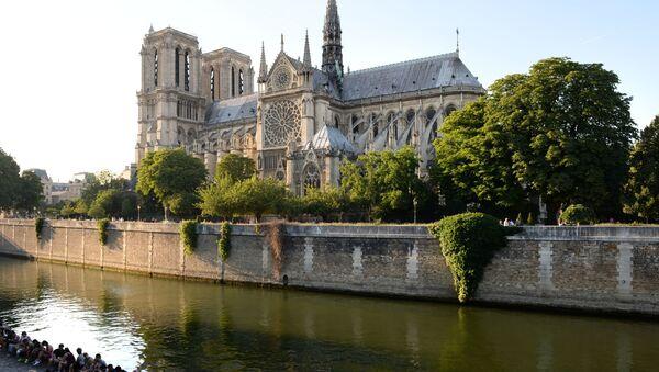 Отдыхающие на набережной Сены у Собора Парижской Богоматери (Notre-Dame de Paris) в Париже - Sputnik International