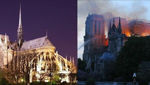 Notre Dame de Paris before and during the April 15, 2019, fire - Sputnik International