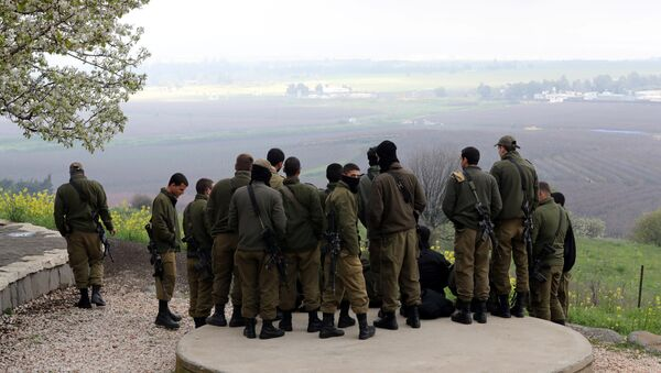 Israeli soldiers stand together at a lookout point near the ceasefire line between Israel and Syria in the Israeli-occupied Golan Heights, 25 March, 2019 - Sputnik International