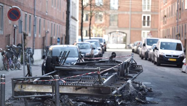 Remains after a fire are seen on Blaagaardsgade, in Copenhagen, Denmark April 15, 2019 - Sputnik International