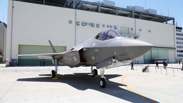 This picture taken on June 5, 2017 shows the first F-35A stealth fighter assembled in Japan, unveiled at a Mitsubishi Heavy Industries factory in Toyoyama, Aichi Prefecture - Sputnik International
