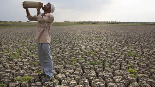 In this May 10, 2016, file photo, a Shepard drinks water on the dry bed of Manjara Dam, which supplies water to Latur and nearby villages in Marathwada region, in the Indian state of Maharashtra - Sputnik International