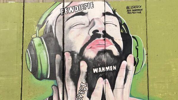 PewDiePie's image on the wall in Palestine - Sputnik International