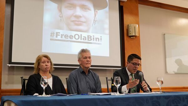 Gorel Biniel (L) and Dag Gustafsson (C), parents of Swedish software developer Ola Bini, and lawyer Carlos Soria, hold a news conference after a local judge ordered Bini jailed pending trial for alleged involvement in hacking government computer systems, in Quito, Ecuador April 16, 2019 - Sputnik International