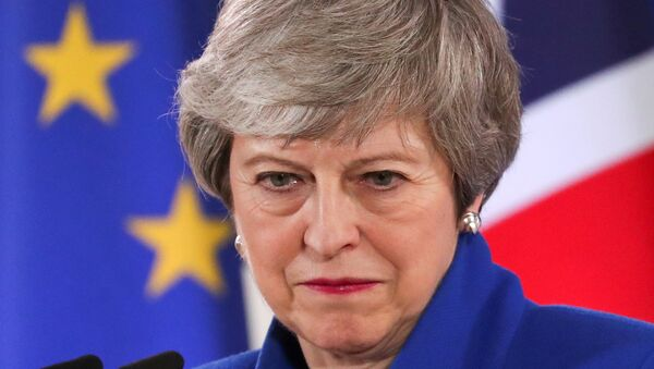 British Prime Minister Theresa May holds a news conference following an extraordinary European Union leaders summit to discuss Brexit, in Brussels, Belgium April 11, 2019 - Sputnik International
