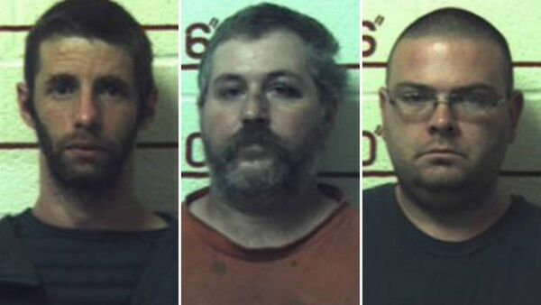 (L-R) Marc Measnikoff, Terry Wallace and Matthew Brubaker have been jailed after having sex with horses, a cow, a goat and dogs at their remote 'makeshift farm' in Munson, Pennsylvani - Sputnik International