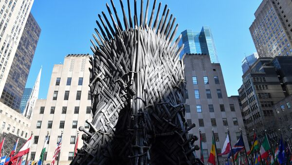 A giant Iron Throne is on display ahead of the Game of Thrones eighth and final season at Radio City Music Hall on April 3, 2019 in New York city - Sputnik International
