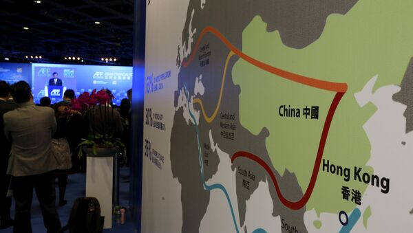 A map illustrating China's silk road economic belt and the 21st century maritime silk road, or the so-called One Belt, One Road megaproject, is displayed at the Asian Financial Forum in Hong Kong, China January 18, 2016 - Sputnik International