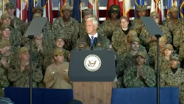 US Vice President Mike Pence delivers remarks, on board USS Harry S. Truman, Naval Station Norfolk (VA), April 30, 2019 - Sputnik International