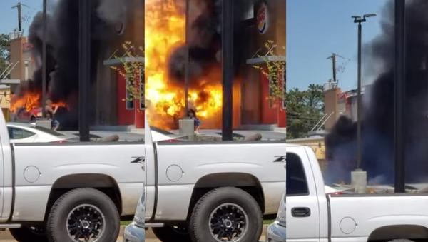 Well Done: Lucky Motorist Suffers Minor Burns From Truck Explosion - Sputnik International