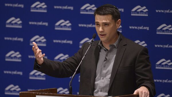 Controversial conservative commentator Ben Shapiro, editor-in-chief of the Daily Wire and former editor-at-large of Breitbart News, addresses the student group Young Americans for Freedom at the University of Utah's Social and Behavioral Sciences Lecture Hall, Wednesday, Sept. 27, 2017, in Salt Lake City. - Sputnik International
