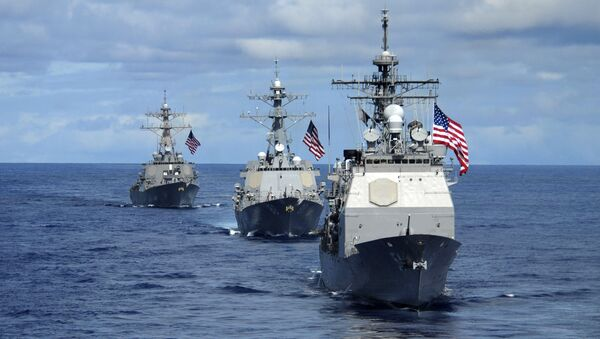 USS Antietam (CG 54) (R), USS Preble(C) (DDG 88) and USS O'Kane (DDG 77), transit in formation 14 August, 2007 during a joint photo exercise (PHOTOEX) concluding Valiant Shield 2007. - Sputnik International