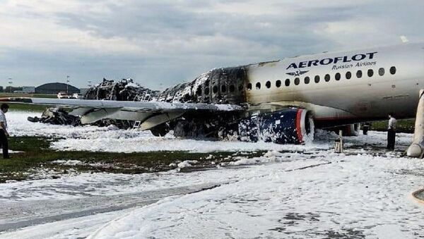 A view shows a damaged Aeroflot Sukhoi Superjet 100 passenger plane after an emergency landing at Moscow's Sheremetyevo airport, Russia May 5, 2019 - Sputnik International