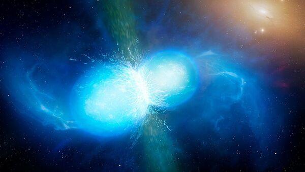 Artist's impression of two neutron stars merger - Sputnik International