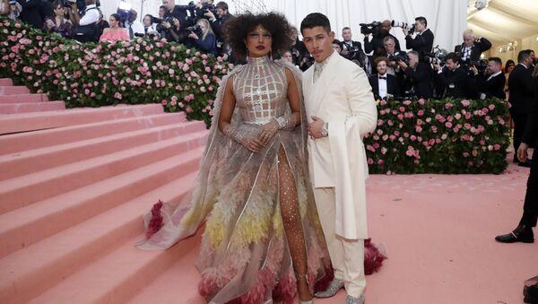 Metropolitan Museum of Art Costume Institute Gala - Met Gala - Camp: Notes on Fashion - Arrivals - New York City, U.S. - May 6, 2019 - Priyanka Chopra and Nick Jonas - Sputnik International