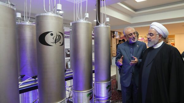A handout picture made available by the Iranian presidential office shows, Iranian President Hassan Rouhani (2nd L) listening to head of Iran's nuclear technology organisation Ali Akbar Salehi (R) during the nuclear technology day in Tehran on April 9, 2019 - Sputnik International