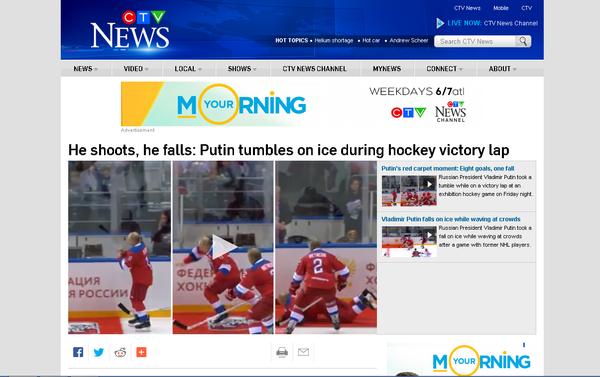 'He shoots, he falls' was the angle Canada's CTV News went with. - Sputnik International