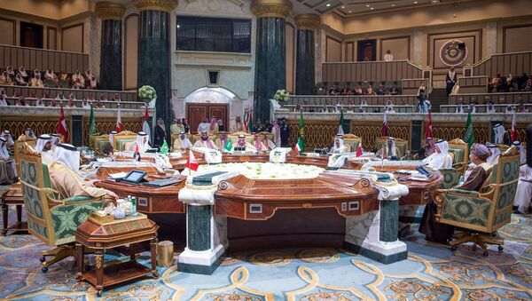 In this photo released by the state-run Saudi Press Agency, leaders from the six nations of the Gulf Cooperation Council meet in Riyadh, Saudi Arabia, Sunday, Dec. 9, 2018. Leaders of Gulf Arab countries, including those boycotting Qatar, met on Sunday in Saudi Arabia's capital for a regional summit, a gathering that Qatar's ruling emir choose not to attend amid the dispute. (Saudi Press Agency via AP) - Sputnik International
