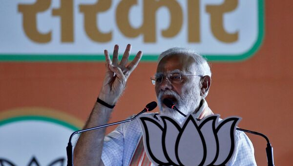 India's Prime Minister Narendra Modi addresses an election campaign rally at Ramlila ground in New Delhi, India, May 8, 2019 - Sputnik International