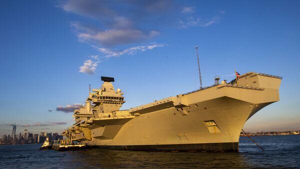 The HMS Queen Elizabeth anchors near the Lower New York Bay. File photo - Sputnik International