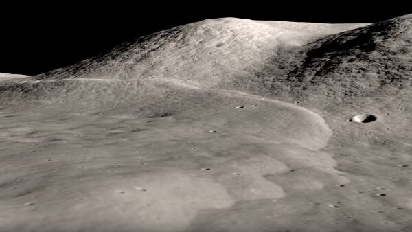 This visualization of Lee Lincoln scarp is created from Lunar Reconnaissance Orbiter photographs and elevation mapping. The scarp is a low ridge or step about 80 meters high and running north-south through the western end of the Taurus-Littrow valley, the site of the Apollo 17 Moon landing. The scarp marks the location of a relatively young, low-angle thrust fault - Sputnik International