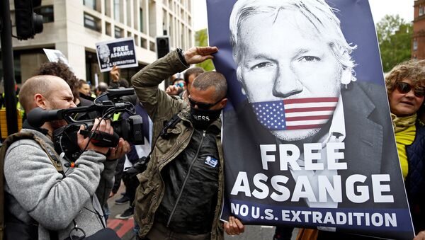 Demonstrators protest outside of Westminster Magistrates Court, where Wikileaks founder Julian Assange had a U.S. extradition request hearing, in London, Britain May 2, 2019 - Sputnik International