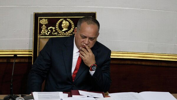 National Assembly President Diosdado Cabello gestures before addressing the National Assembly in Caracas, Venezuela - Sputnik International