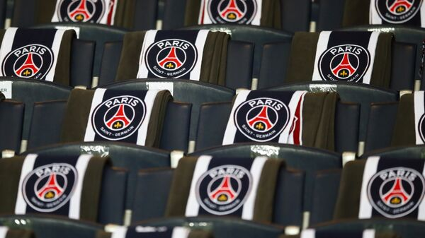 The logos of the Paris Saint Germain are displayed on the seats of the vip stands prior to the Champion's League round of 16, first leg soccer match between Paris Saint Germain and Barcelona at the Parc des Princes stadium in Paris, Tuesday, Feb. 14, 2017 - Sputnik International