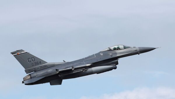 A US Air Force F-16 jet during a NATO exercise in Estonia, June 12, 2018 - Sputnik International