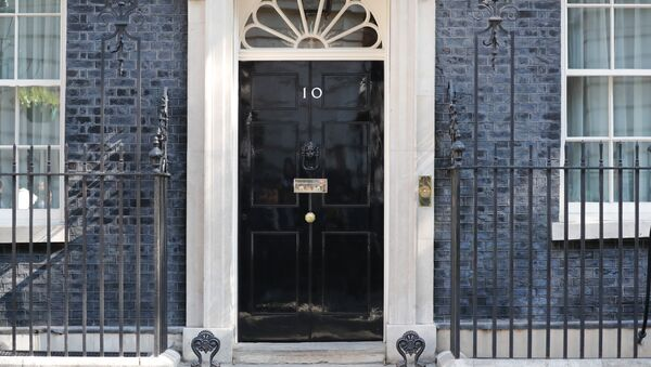 A view of the front door of 10 Downing street in central London on May 24, 2019. Beleaguered British Prime Minister Theresa May is expected to announce today when she will resign, according to reports, following a Conservative Party mutiny over her remaining in power. - Sputnik International