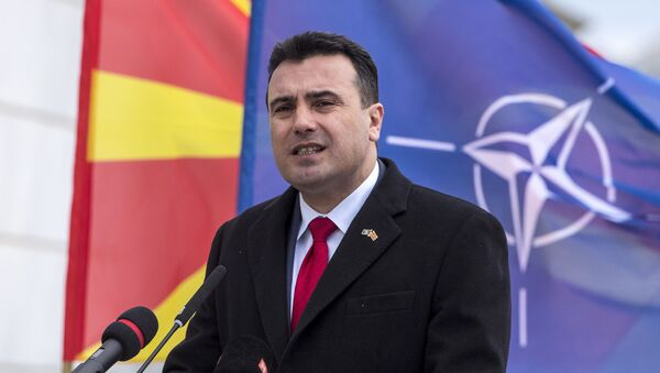 Macedonia's Prime Minister Zoran Zaev addresses the nation during an official ceremony of raising the NATO flag in front of the Government of Macedonia in Skopje on February 12, 2019. - Sputnik International